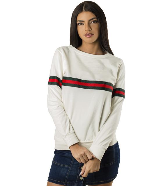 Μπλούζα φούτερ με λωρίδες (Λευκό)