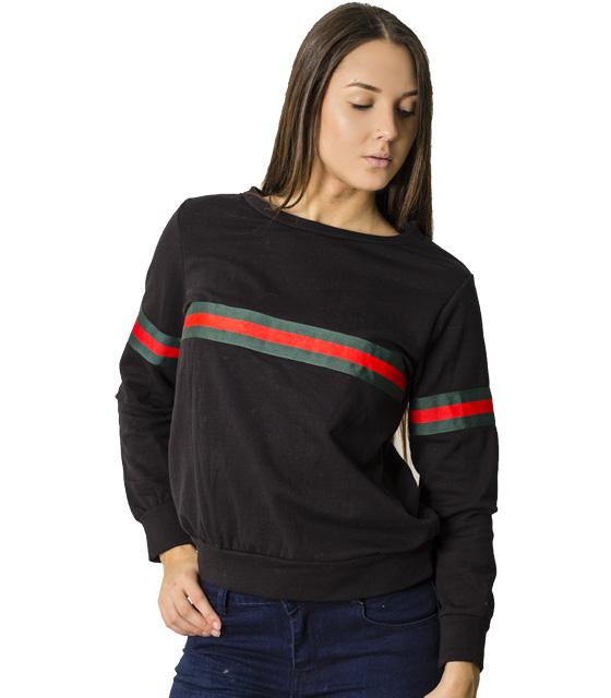 Μπλούζα φούτερ με λωρίδες (Μαύρο)