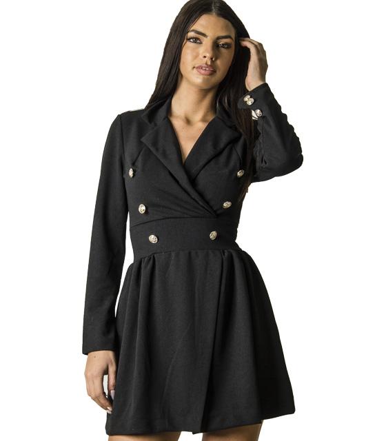 Φόρεμα με γιακά και κουμπιά (Μαύρο)
