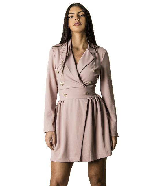 Φόρεμα με γιακά και κουμπιά (Ροζ)