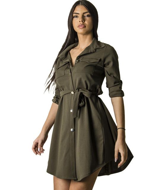 Χακί φόρεμα με τσέπες και ζώνη