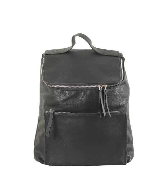 Τσάντα πλάτης με ασημί φερμουάρ (Μαύρο)