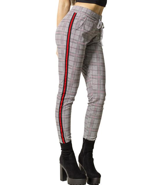 Ψηλόμεσο καρό παντελόνι με ρίγα στο πλάι (Γκρι)
