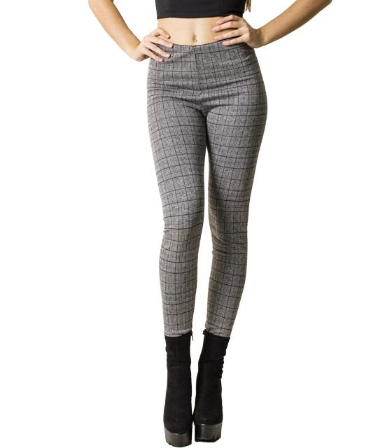 Ψηλόμεσο καρό παντελόνι με λάστιχο στην μέση (Γκρι)