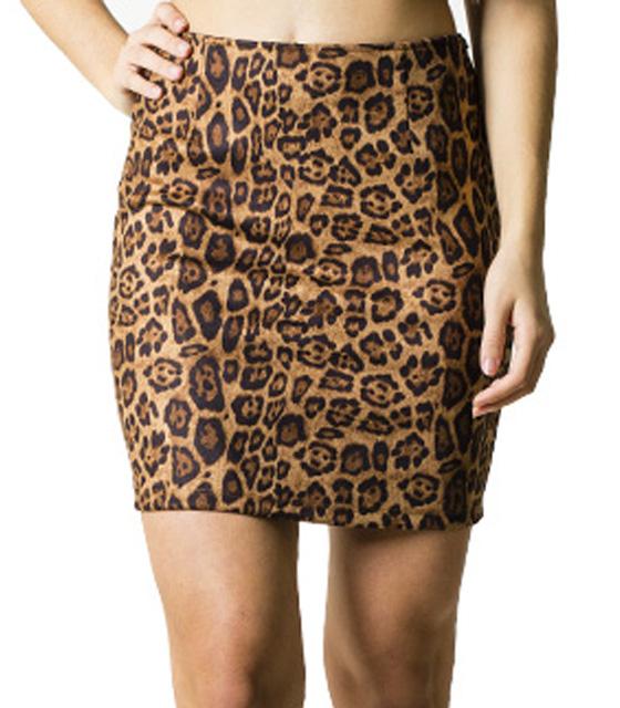 Λεοπάρ φούστα με κρυφό φερμουάρ στο πλάι