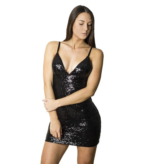 Εφαρμοστό φόρεμα με πούλιες και ρυθμιζόμενες τιράντες (Μαύρο)