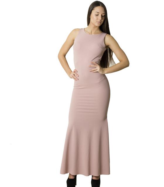 Φόρεμα μάξι με επένδυση και δαντέλα (Ροζ)
