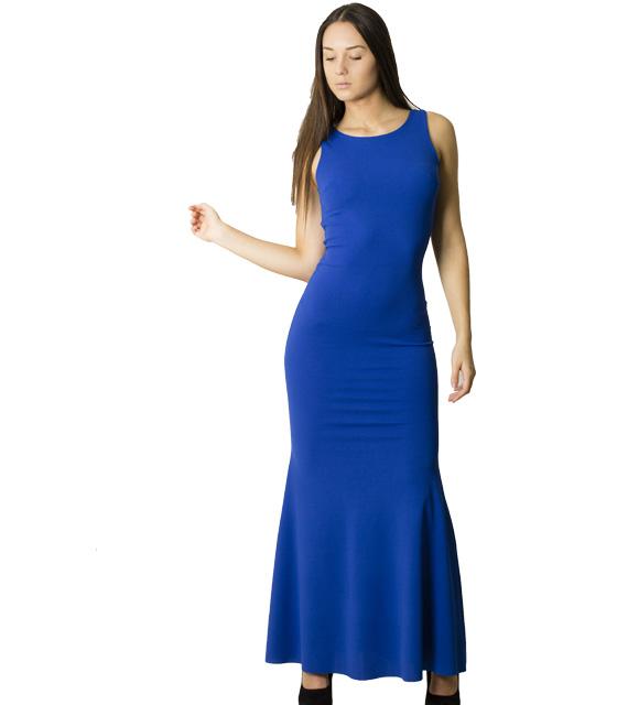 Φόρεμα μάξι με επένδυση και δαντέλα (Μπλε)