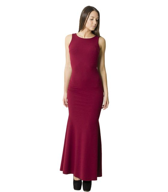 Φόρεμα μάξι με επένδυση και δαντέλα (Μπορντό)