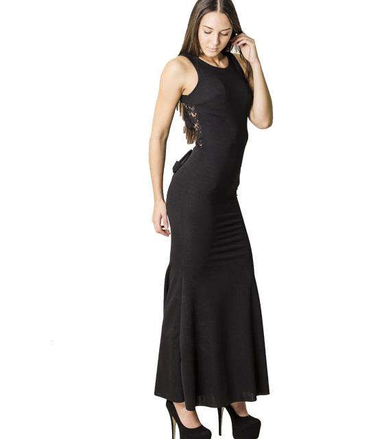 Φόρεμα μάξι με επένδυση και δαντέλα (Μαύρο)