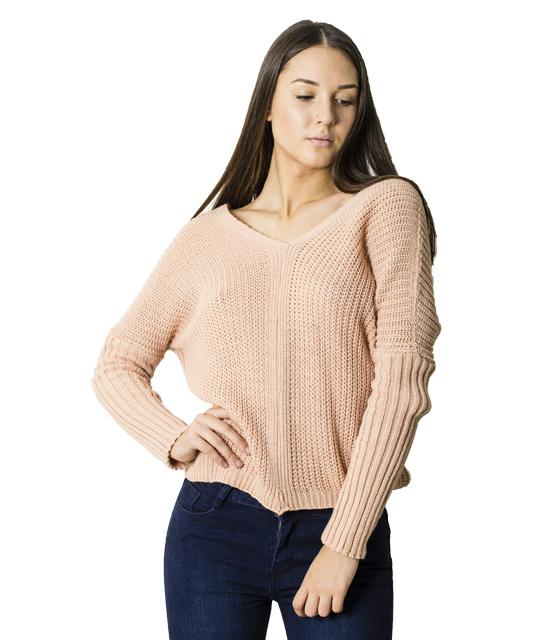 Πλεκτή μπλούζα με δεσίματα στην πλάτη (Ροζ)