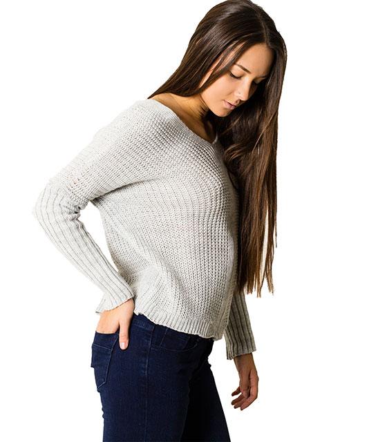 Πλεκτή μπλούζα με δεσίματα στην πλάτη (Γκρι)