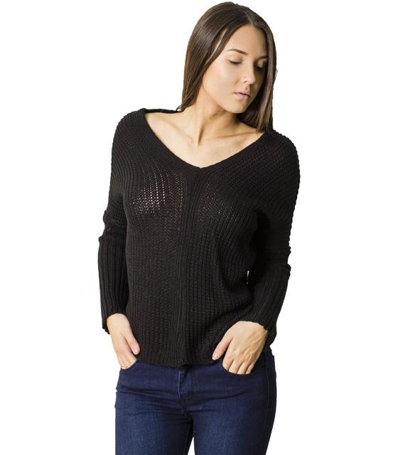 Πλεκτή μπλούζα με δεσίματα στην πλάτη (Μαύρο)