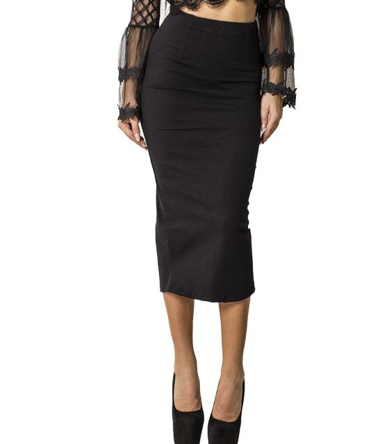 Ψηλόμεση midi φούστα με λάστιχο στην μέση (Μαύρο)