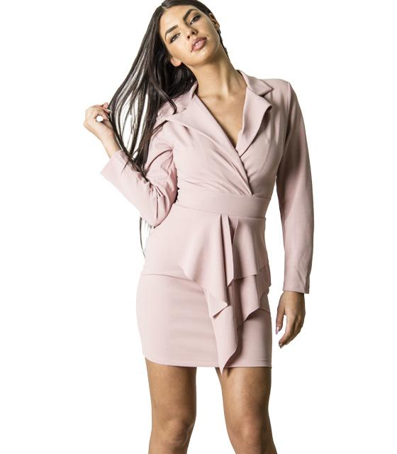 Φόρεμα κρουαζέ με κρυφό φερμουάρ (Ροζ)