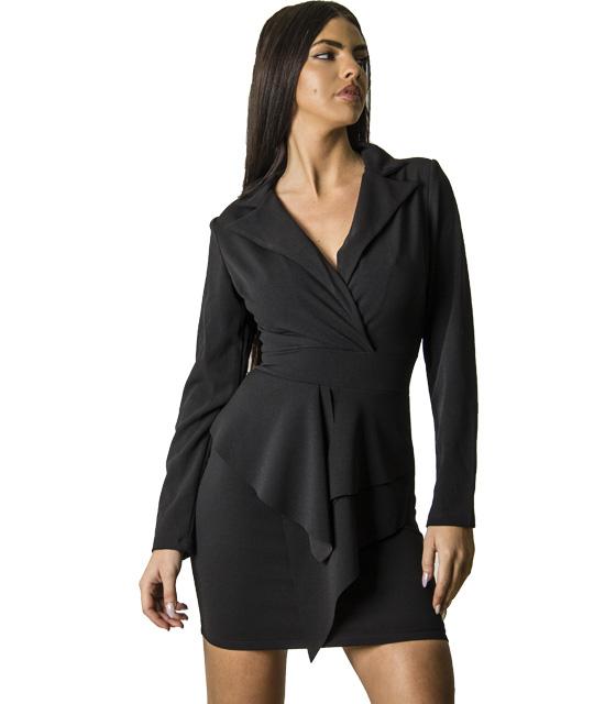 Φόρεμα κρουαζέ με κρυφό φερμουάρ (Μαύρο)