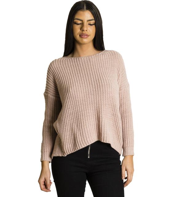 Πλεκτή μπλούζα με άνοιγμα στην πλάτη (Ροζ)