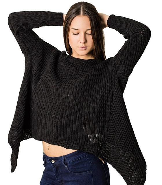 Πλεκτή μπλούζα με άνοιγμα στην πλάτη (Μαύρο)