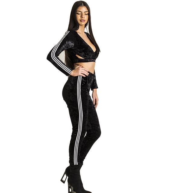 Βελούδινο σετ τοπ - παντελόνι με ρίγες στο πλάι (Μαύρο)