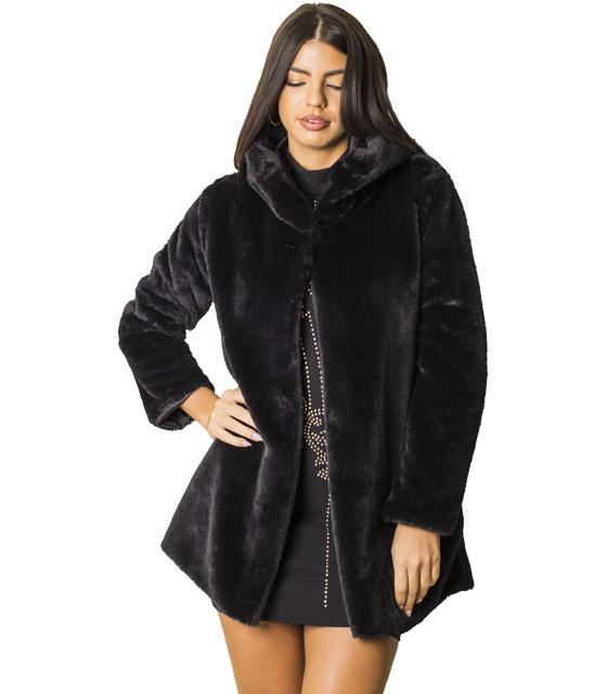Μαύρη γούνα με κουκούλα και κρυφό κούμπωμα