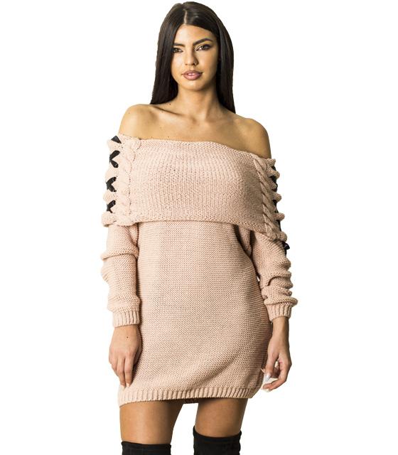 Πλεκτό φόρεμα με χιαστή λεπτομέρεια στα μανίκια (Ροζ) ρούχα   πλεκτά