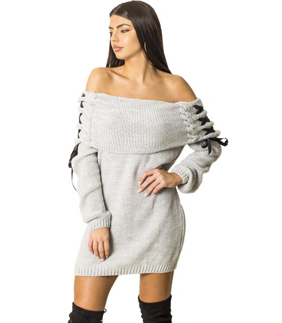 Πλεκτό φόρεμα με χιαστή λεπτομέρεια στα μανίκια (Γκρι)
