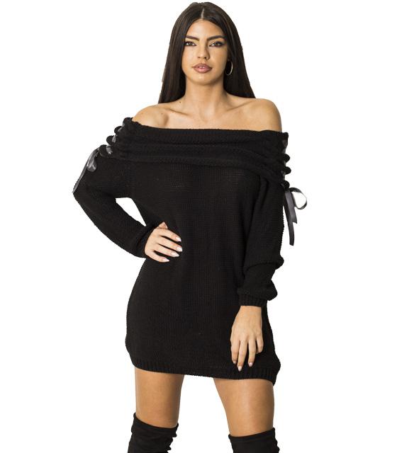 Πλεκτό φόρεμα με χιαστή λεπτομέρεια στα μανίκια (Μαύρο) ρούχα   πλεκτά