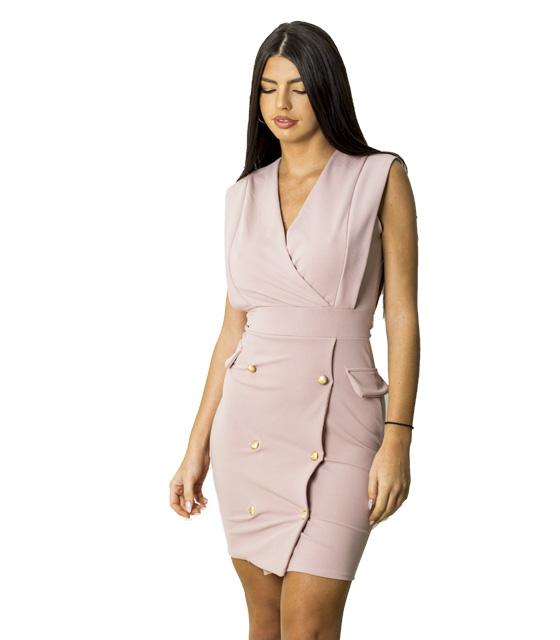 Αμάνικο φόρεμα με λεπτομέρεια ζώνη και χρυσά κουμπιά (Ροζ)