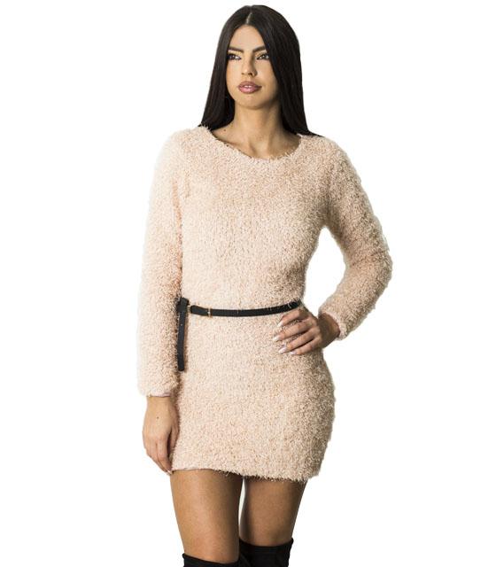 Μίνι φόρεμα ελαστικό χνουδωτό (Ροζ)