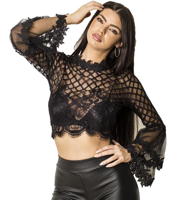 Δαντελένια μπλούζα με μανίκια καμπάνα (Μαύρο) ρούχα   μπλούζες   top   φούτερ   μακρυμάνικα