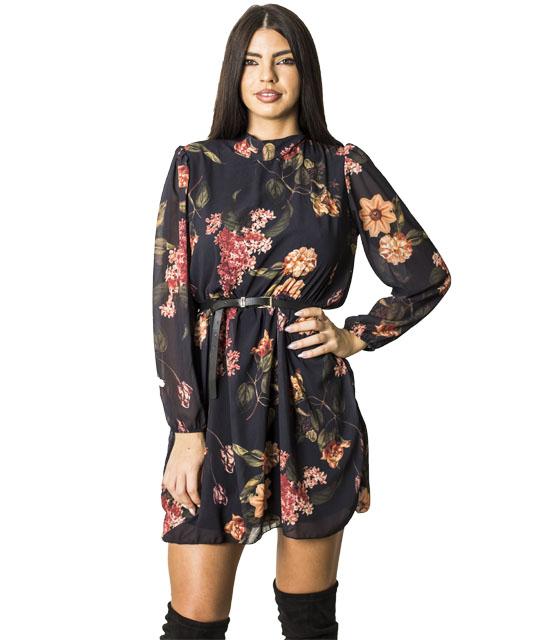 Φόρεμα εμπριμέ με δέσιμο στο λαιμό (Μαύρο)