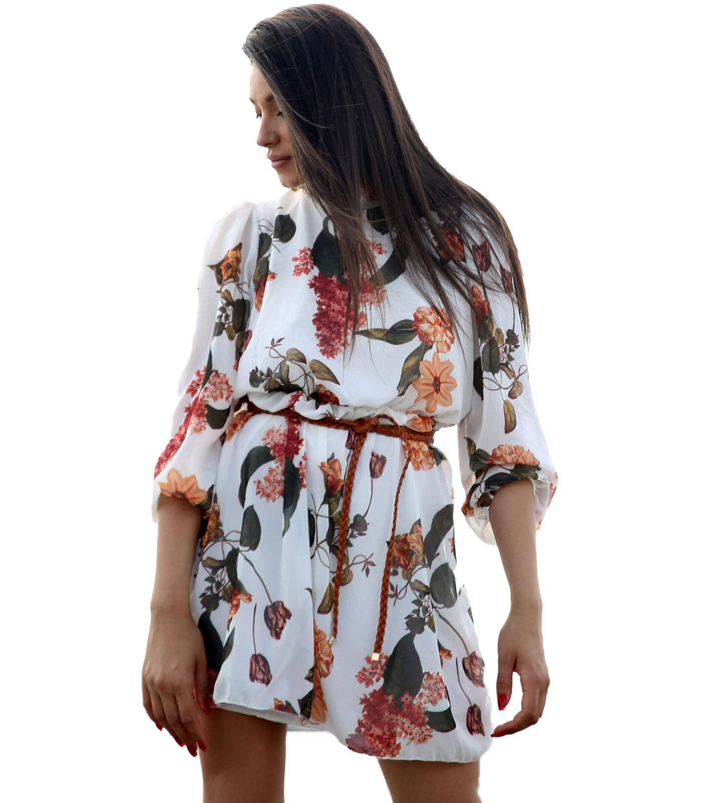 Φόρεμα εμπριμέ με δέσιμο στο λαιμό (Λευκό)
