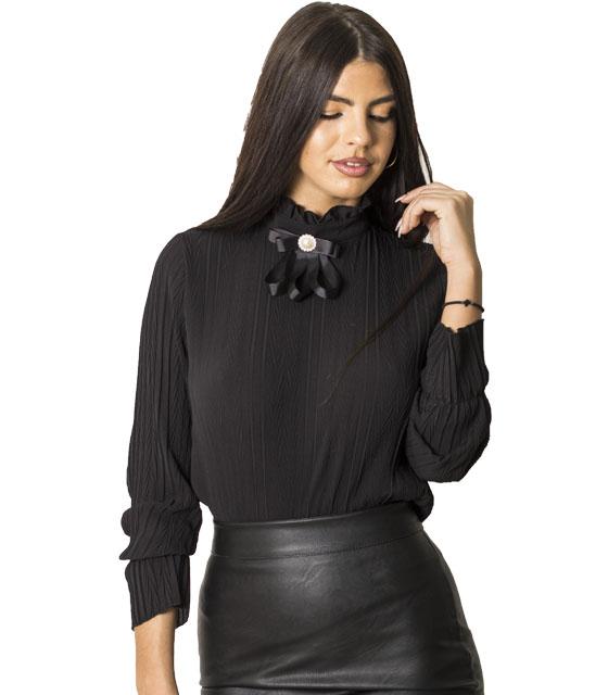 Πλισέ μπλούζα με καρφίτσα (Μαύρο) ρούχα   μπλούζες   top   φούτερ   μακρυμάνικα