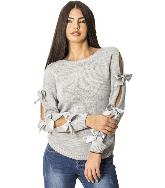 Πλεκτή μπλούζα με φιόγκους στα μανίκια (Γκρι)