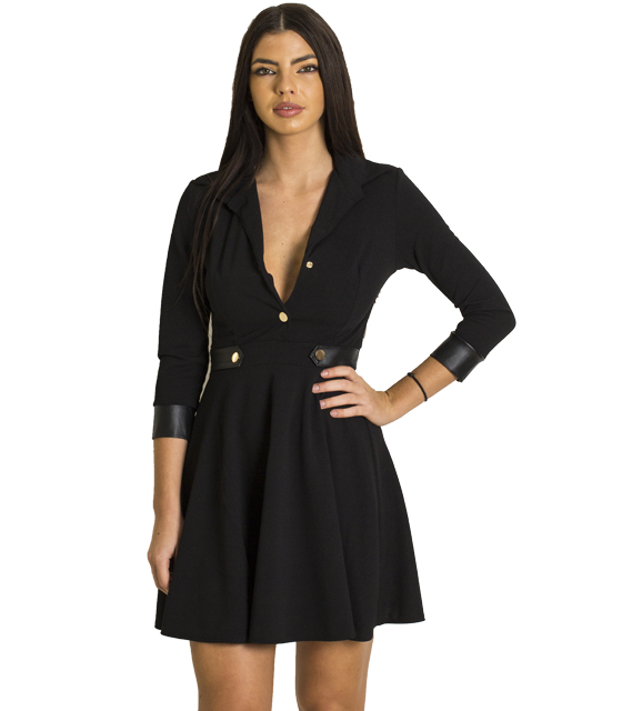 Φόρεμα με χρυσά κουμπιά και λεπτομέρεια δερματίνη (Μαύρο)