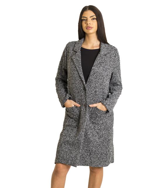Πτι καρό παλτό με τσέπες και κουμπιά
