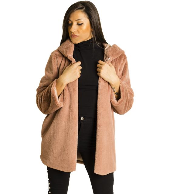Ροζ γούνα με κουκούλα και κρυφό κούμπωμα