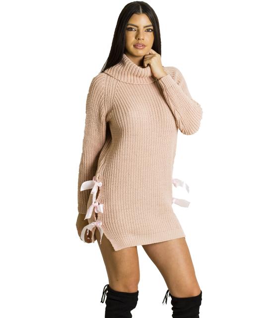 Φόρεμα πλεκτό με φιόγκους σατέν στο πλάι (Ροζ)
