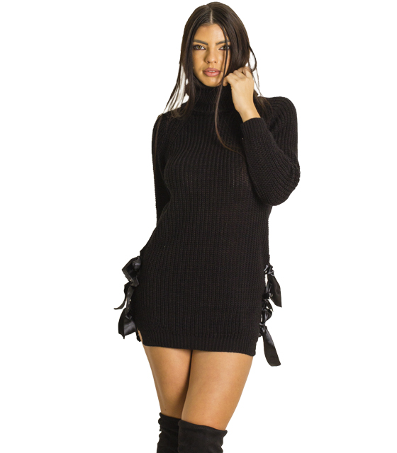 Φόρεμα πλεκτό με φιόγκους σατέν στο πλάι (Μαύρο)
