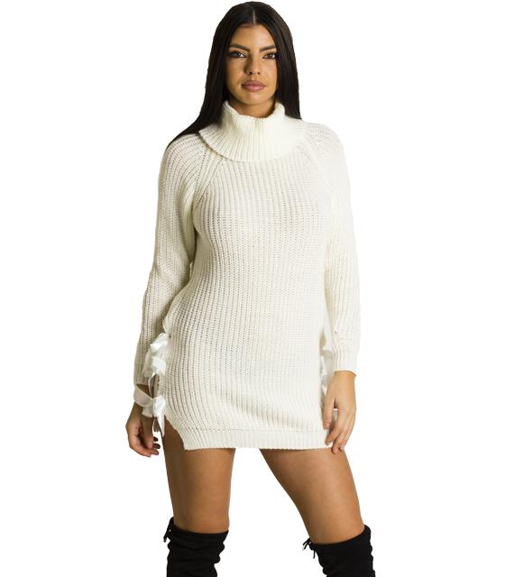 Φόρεμα πλεκτό με φιόγκους σατέν στο πλάι (Λευκό)