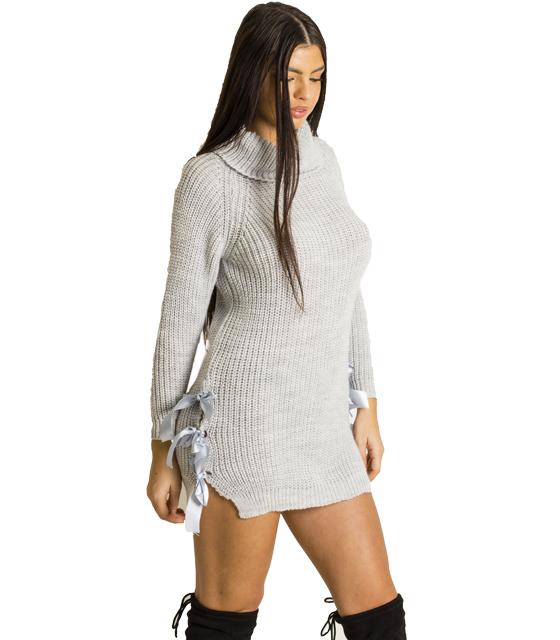 Φόρεμα πλεκτό με φιόγκους σατέν στο πλάι (Γκρι)