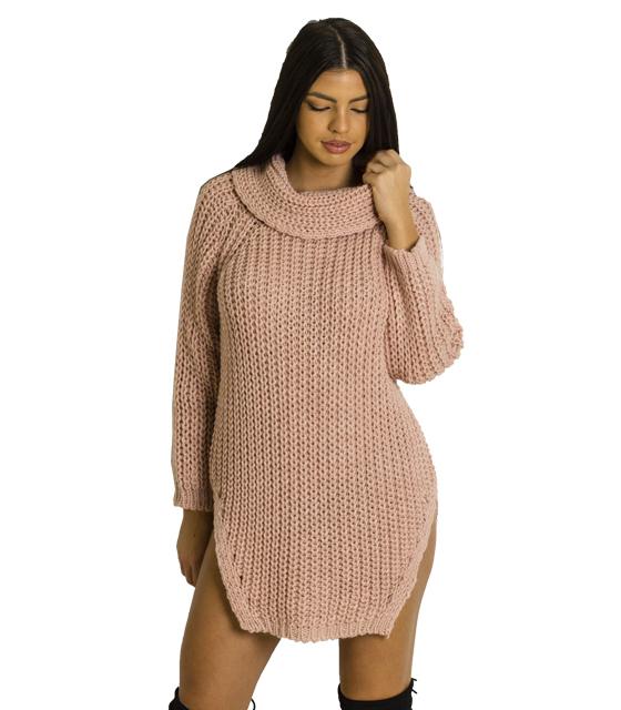 Ροζ πλεκτό φόρεμα με ανοίγματα στο πλάι