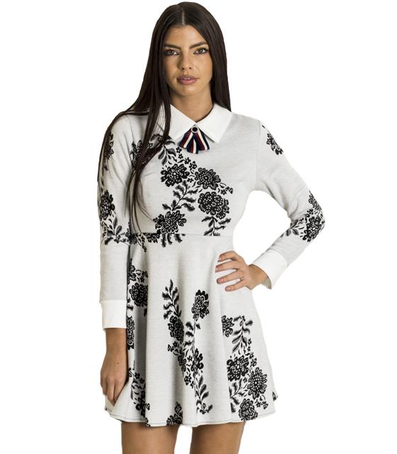 Φόρεμα με καρφίτσα και τύπωμα λουλούδια (Ανοιχτό Γκρι) ρούχα   φορέματα