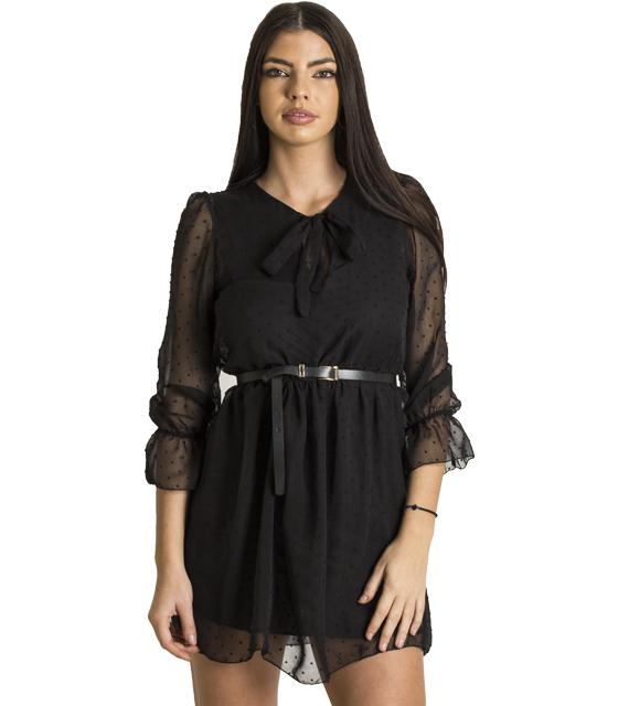 Φόρεμα με διαφάνεια και δέσιμο στο στήθος (Μαύρο)