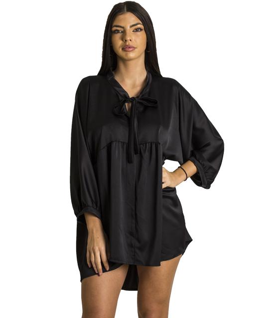 Σατέν φόρεμα με δέσιμο στο στήθος (Μαύρο)