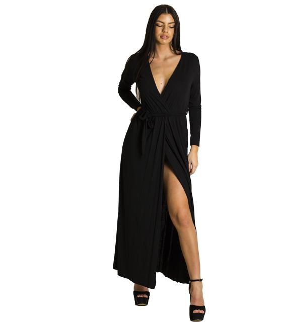 Ελαστικό φόρεμα με ζώνη (Μαύρο)