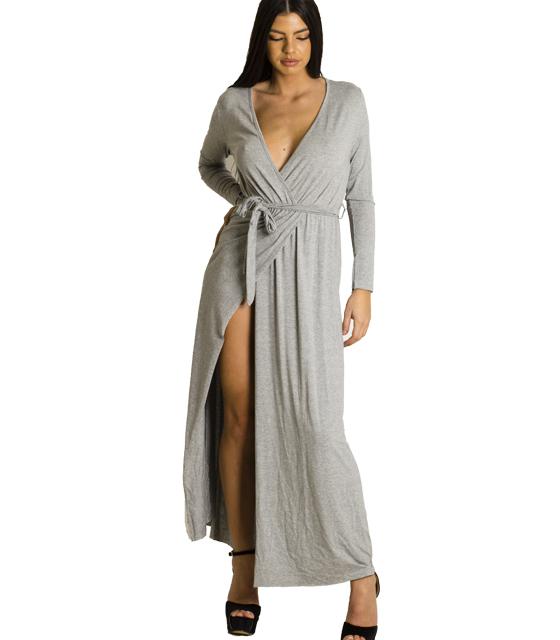 Ελαστικό φόρεμα με ζώνη (Γκρι)