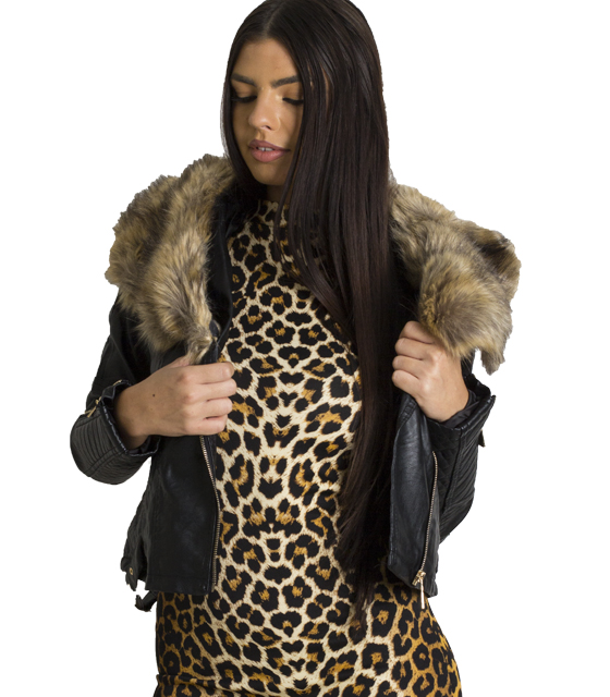 Jacket δερματίνη γυναικείο με καφέ γούνα γιακά