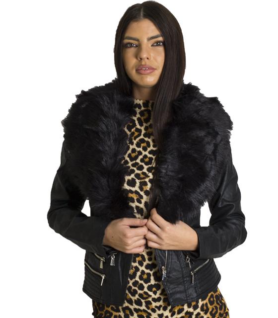 Jacket δερματίνη γυναικείο με μαύρη γούνα γιακά
