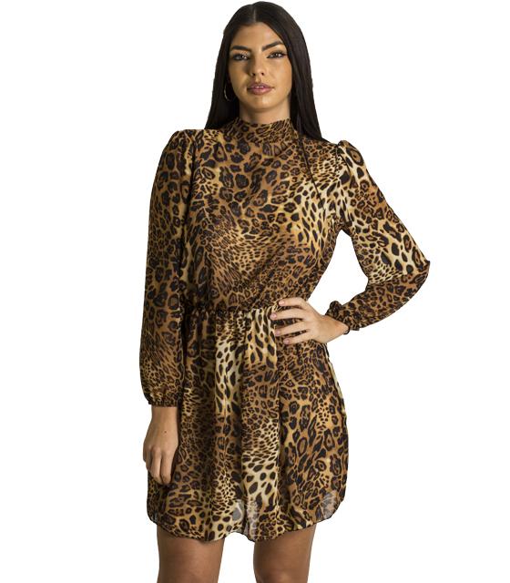Φόρεμα λεοπάρ με λάστιχο στην μέση και δέσιμο στο λαιμό